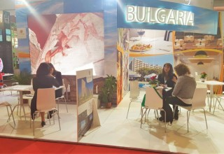 The information stand of Bulgaria at the International Tourist Exhibit IBTM '2015 in Barcelona, Spain